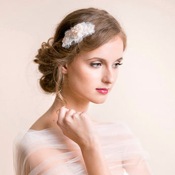 Wedding Hairpiece Rhinestone Lace Pearl- Bridal Hairpiece - Wedding Hair Comb - Bridal Hair Comb - Embroidered Hairpiece Heirloom - Ivory