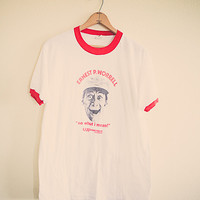 80's Earnest Goes to camp Vintage Tee  T-shirt White Red Ringer tee Men's Large  Classic Old School