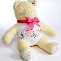 Snuggle Up Pale Yellow and Floral Chenille Teddy Bear