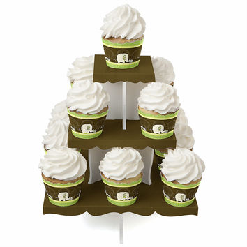 Baby Shower Cupcake Stand and 13 Cupcake Wrappers - Baby Elephant