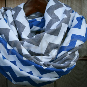 Infinity Scarf // Royal Blue/Gray Chevron Jersey Knit // Toddler/Youth/Adult/LONG // Dallas Cowboys/Detroit Lions/Indianapolis Colts