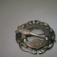 "Vintage Sterling Silver Celtic Cloak Brooch Pendant Combination - faux cloak - 1.75"" across"