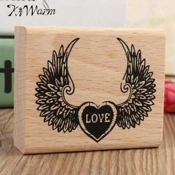 KiWarm Newest!! Lowest Price DIY Wooden Vintage Love And Wing Pattern Retro Rubber Stamp Diary Wedding Fit For Decoration