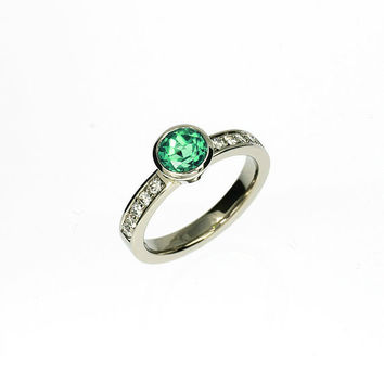 Indigolith tourmaline engagement ring, white gold, bezel, diamond engagement, green tourmaline, tourmaline solitaire, mint gemstone, custom