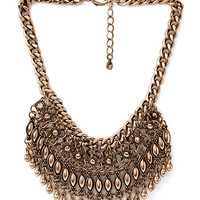FOREVER 21 Tribal-Inspired Fringe Necklace Antic Gold One