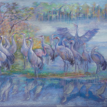 WILD BIRDS, Wildlife painting, ORIGINAL Art, Pastel drawing, Hand drawn, Living room  decorative art, Lake, forest, bird, Animal Wall decor