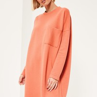 Missguided - Nude Ribbed Pocket Sweater Dress