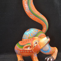Excellent Oaxacan Wood Carving Alebrije Fox, Margarita Sosa Mexican Folk Art ---- 8'' x 8'' x 14''