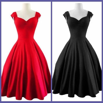 Fashion Women Party Sleeveless Dress - Black/Red