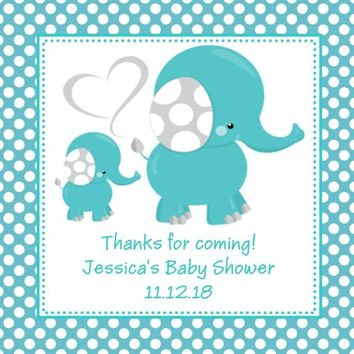 Blue Polka Dot Elephant Baby Shower Stickers