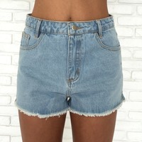 Grommet Fray Blue Denim Shorts