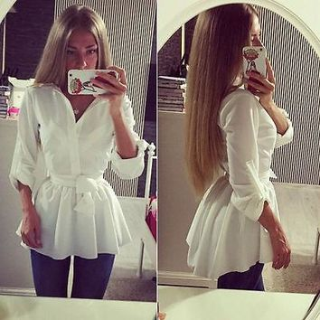 NEW Women Blouse Shirt Long Sleeve Button Down Casual Tops Ladies Slim