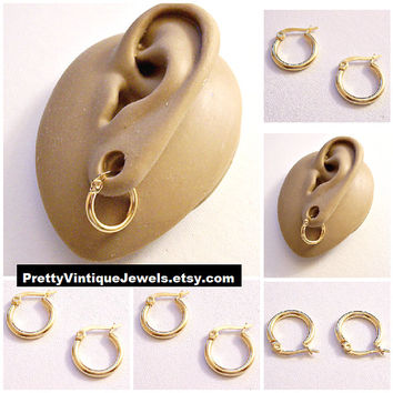 """Monet 5/8"""" Hoops Pierced Post Stud Earrings Gold Tone Vintage Small Stainless Steel Nickel Free Round Thick Tube Rings"""