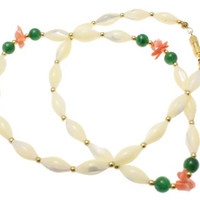 GENUINE MOTHER OF PEARL PINK CORAL JADE NECKLACE 18""