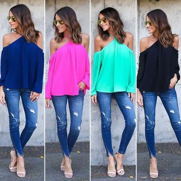 Women's Boho Cold Shoulder Top Blouse Long Sleeve Casual Shirts Loose T-shirt US