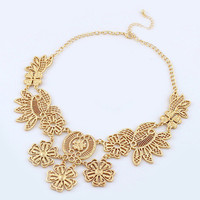 Gold Floral Cut-Out Collar Necklace