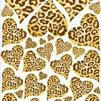 Leopard Cheetah Print Hearts Wall Stickers Decals