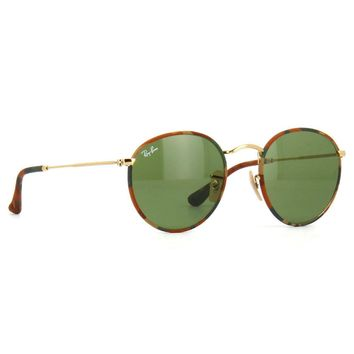 Ray Ban RB3447JM 168/4E Round Camouflage Sunglasses Gold Green Classic 50mm