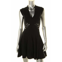 French Connection Womens Ponte Lace Trim Cocktail Dress
