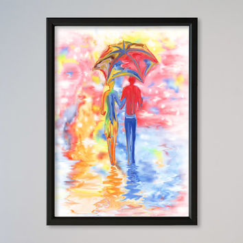 Valentine's Day Gift Couple Under Umbrella Watercolor Poster Print Under One Umbrella