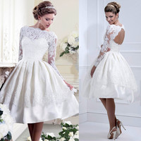 Sexy Women Dress Vestido Branco Long Sleeve Mesh Lace Dress for Wedding White Pleated Party Dresses Hollow Out Vestidos