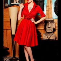 """""""Haunted Housewife"""" Dress in Red with Black from Deadly Dames 