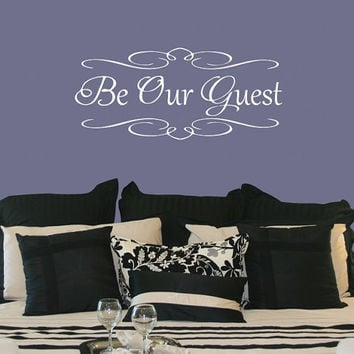 Light accented Be Our Guest vinyl wall decal, warm inviting guest room wall decal, frilly guest wall sticker, DIY bedroom wall project idea