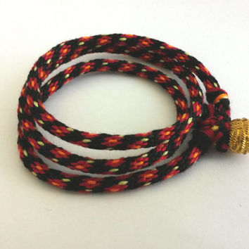 Kumihimo Wrap Friendship Bracelet - Maroon Flowers Pattern with Black Background