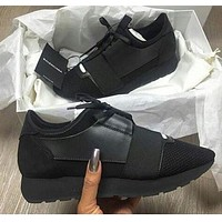 BaLenciaga Trending Women Men Race Runners Sport Shoe Sneaker Black I