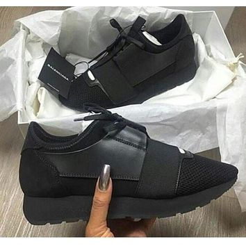 BaLenciaga Race Runners Trending Stylish Casual Sneaker Shoes Full Black I/A
