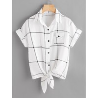 White Checked Knot Front Cuffed Shirt With Chest Pocket