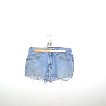 "Vintage Levis Shorts Cut off Levis Shorts Faded Grunge Denim Shorts Frayed Jean Shorts 550s Relaxed Fit Size 10 32"" Waist"