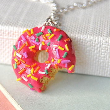 Donut Necklace Bitten Handmade Polymer Clay by sillychic on Etsy