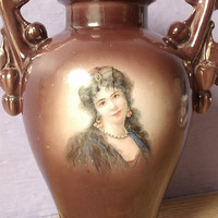 antique portrait vase, Austria, art nouveau decor, brown porcelain vase, Wedding gift for bride, Pittsburgh