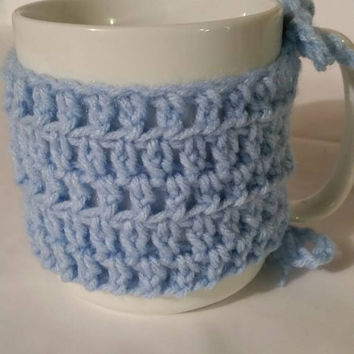 Coffee Cup Cozy - Mug- Crocheted Cozy Blue