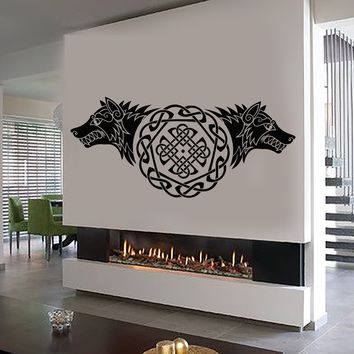 Vinyl Wall Decal Celtic Ornament Wolves Head Symbol Predator Stickers (2652ig)