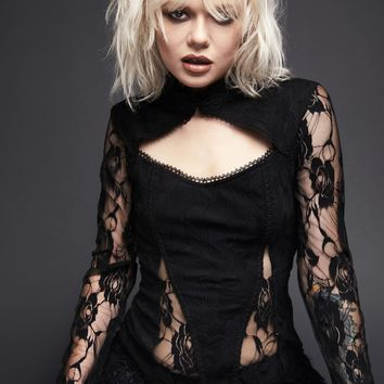 Black Magic Woman High Neck Lace Top with Bell Sleeves