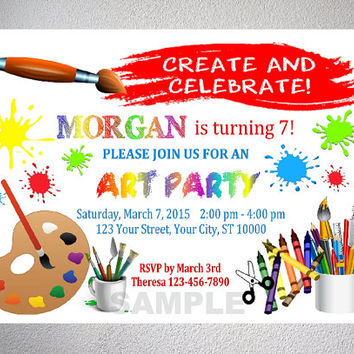 Art Party Invitation, Art Birthday Party Invitation With Free Thank You Card, Digital Files