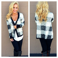 Black & White Plaid Knit Cardigan