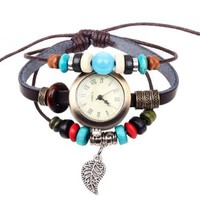 Ladies Faux Antique Infinity Watch with Bead and Dangling Leaf Charm Charm Pendant on Handmade Leather Band Bracelet