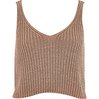 River Island Womens Camel metallic cropped tank