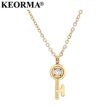 KEORMA Vintage Gold Color clavicle chain necklace Forever Love key charm stainless steel necklace&pendant for women