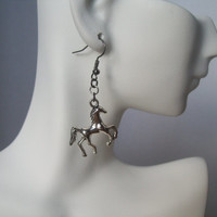 Silver Horse Earrings, Stallion Earrings, Equestrian Jewelry, Rodeo, Cowgirl Earrings, Galloping Horse Earrings