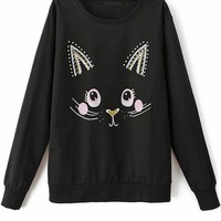 Playful Cat Black Sweatshirt - OASAP.com