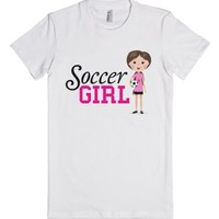 Pink soccer girl fun cartoon t-shirt-Female White T-Shirt