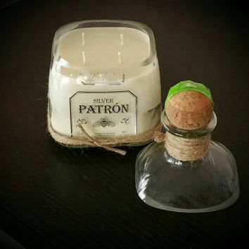 Patron Tequila bottle candle with lid