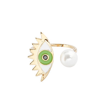 Evil Eye Ring in Green