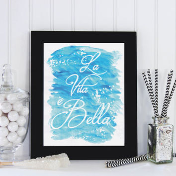 "Italian Words Poster ""La Vita e Bella"", Beach Print, Beach Poster, Home Decor, Coastal Wall Decor, Watercolor Print, Beach Decor."