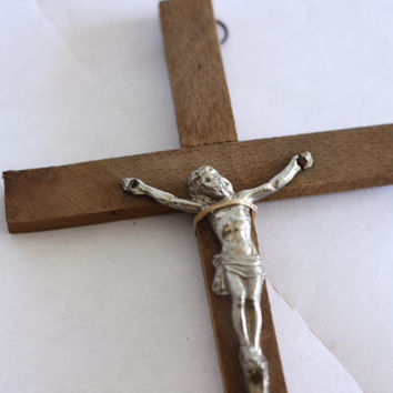 French little wooden crucifix / Religious cross // Jesus Christ