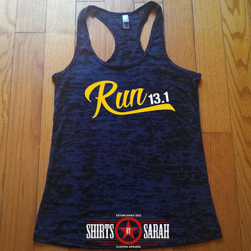 Run Workout Tank - Racerback Burnout Running Tanks - 13.1 Half Marathon Runners Women's Black